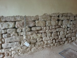 Internal stone wall with plaster and pointing removed
